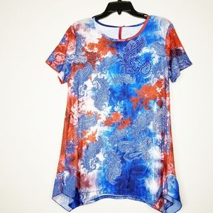 LOVE SCARLETT RED WHITE AND BLUE BLOUSE